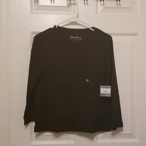 Eddie Bauer Black 3/4 Sleeve Top (Cropped)